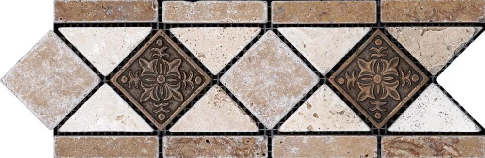 4 inch x 12 inch noce with fiore metal decorative border tile