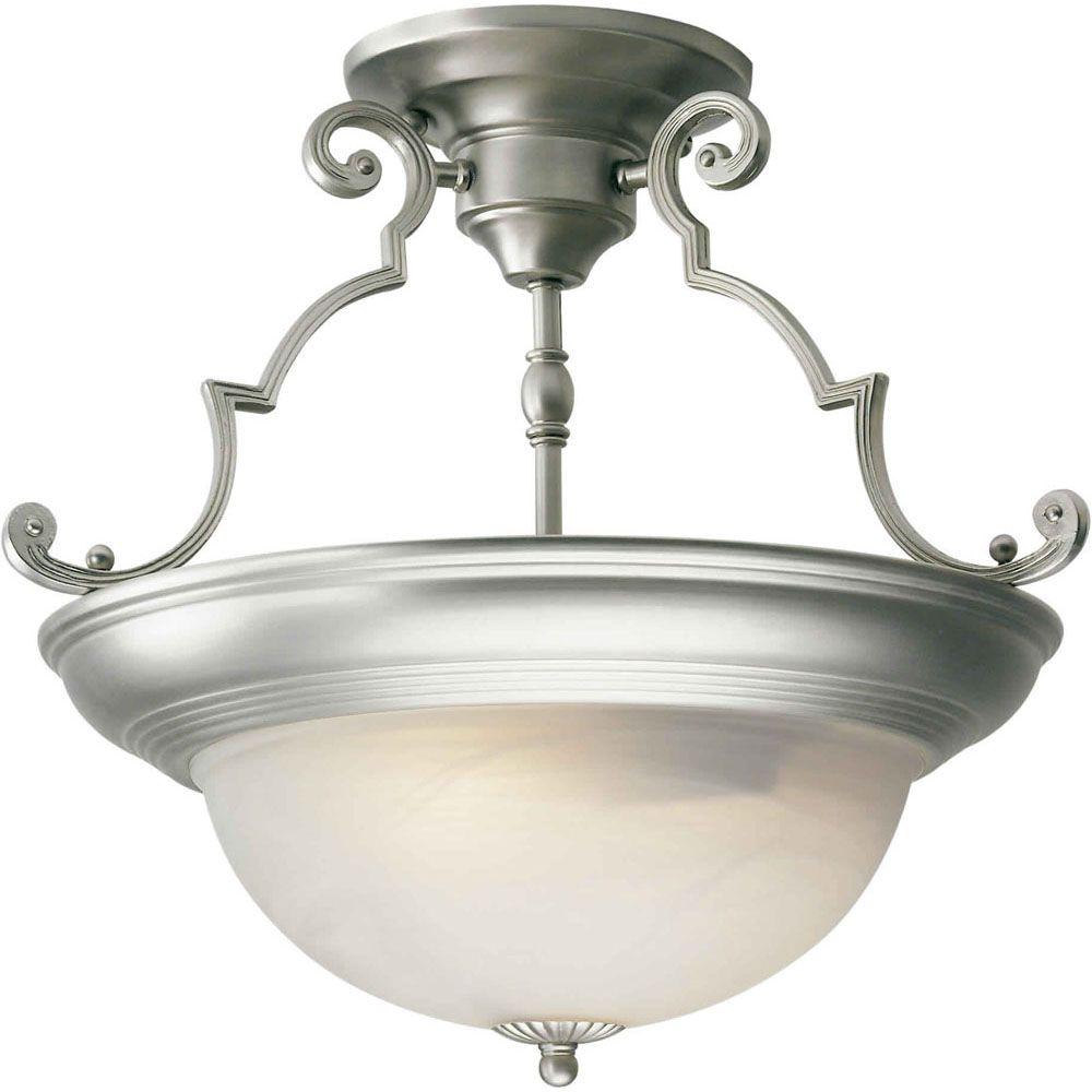 burton 2 light semi flush mount ceiling light fixture in brushed nickel
