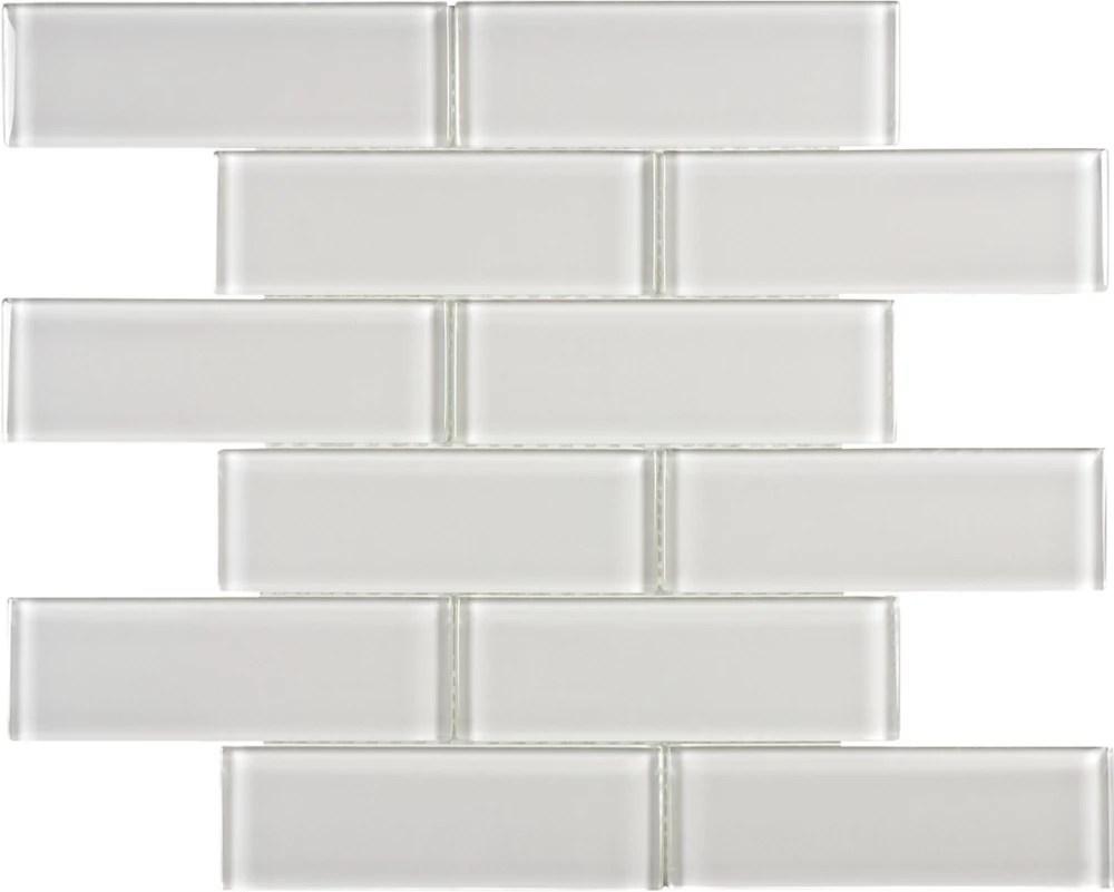 2 inch x 6 inch glass brick mosaic tile in arctic fog