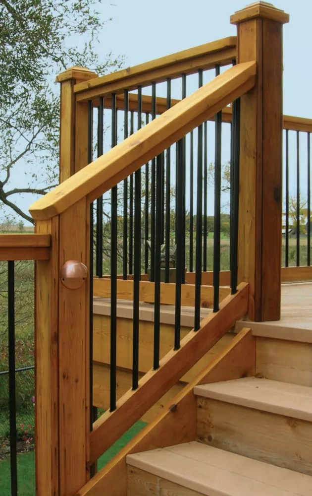 4 ft w aluminum stair rail kit with 26 inch l x 3 4 inch d round balusters in black 10 piece