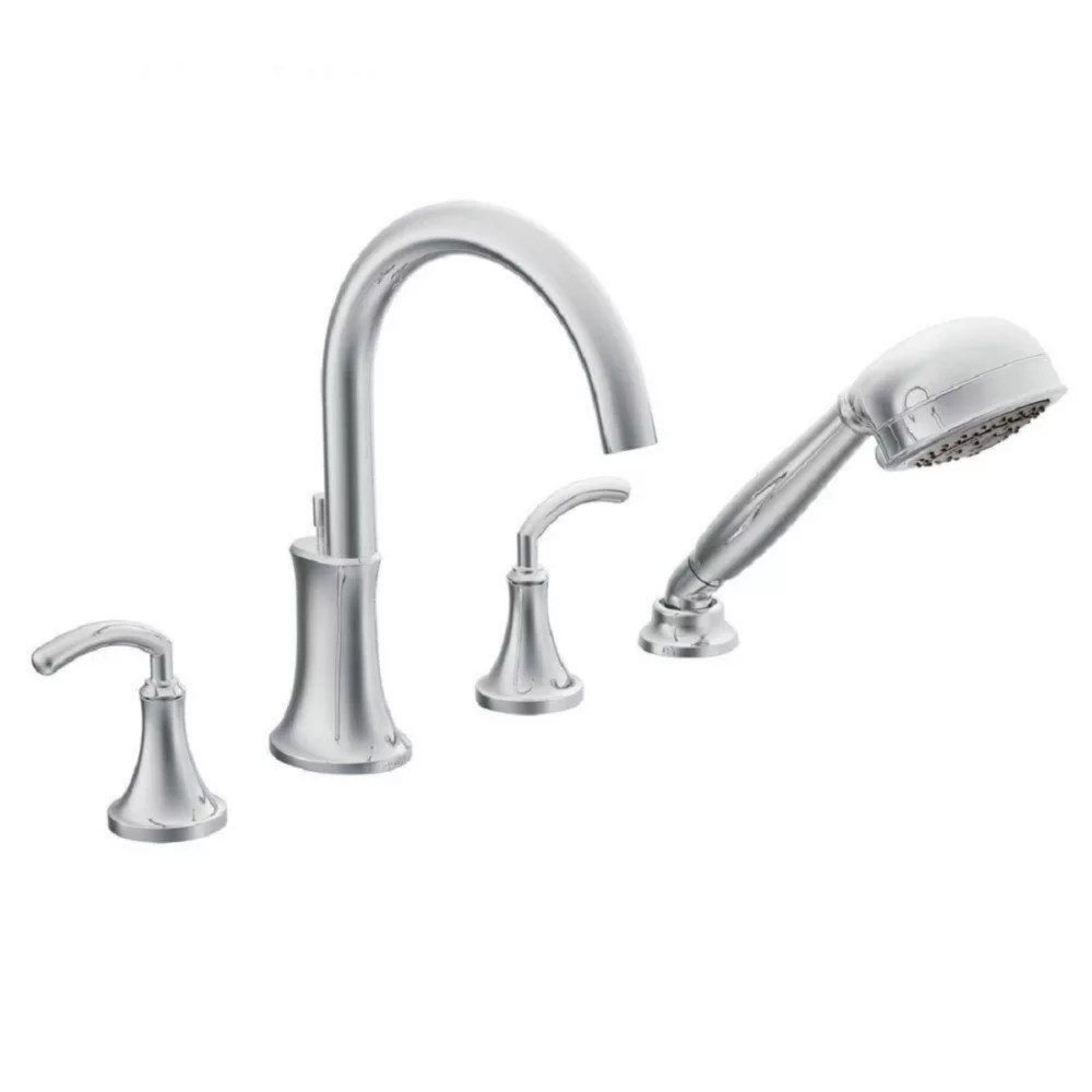 icon 2 handle deck mount high arc roman tub faucet trim kit with hand shower in chrome valve not included