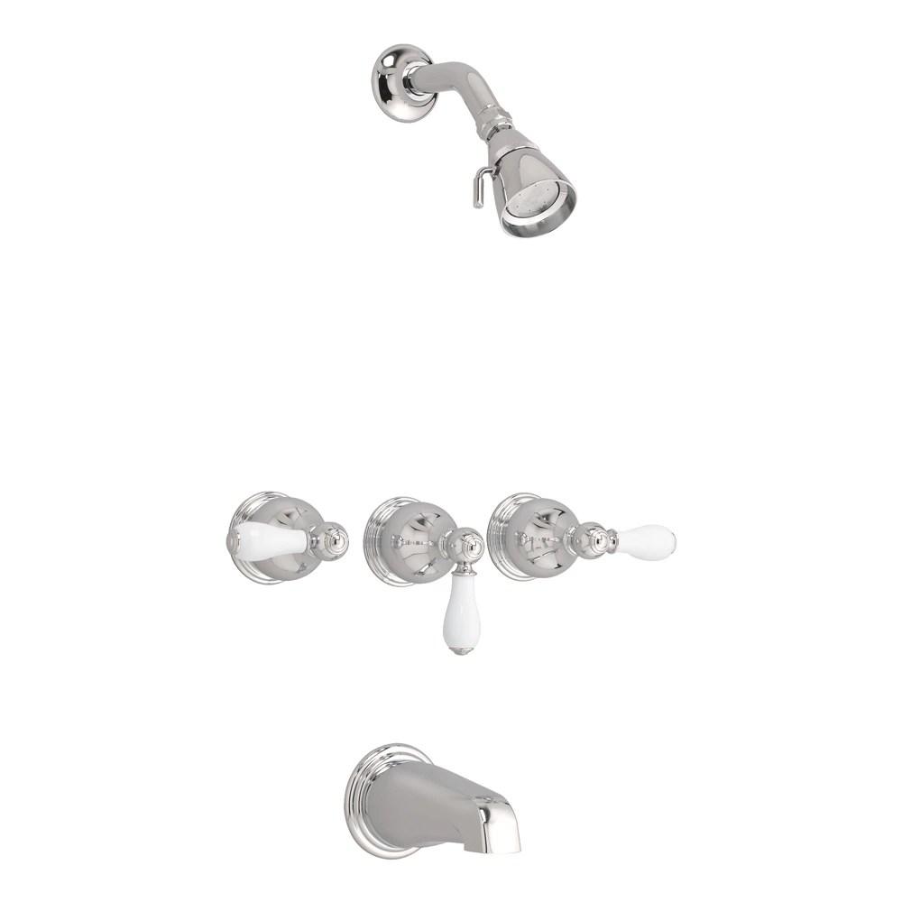williamsburg 3 handle 3 function bath shower faucet in satin nickel