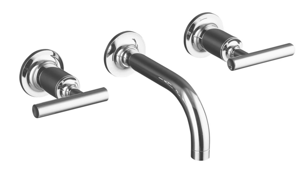 purist wall mount 2 handle bathroom faucet in polished chrome finish