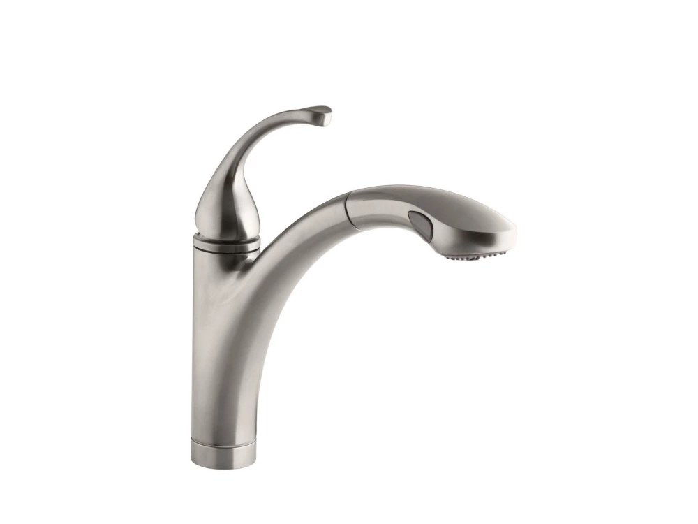 forte single control pullout kitchen sink faucet with color matched sprayhead and lever handle in vibrant stainless
