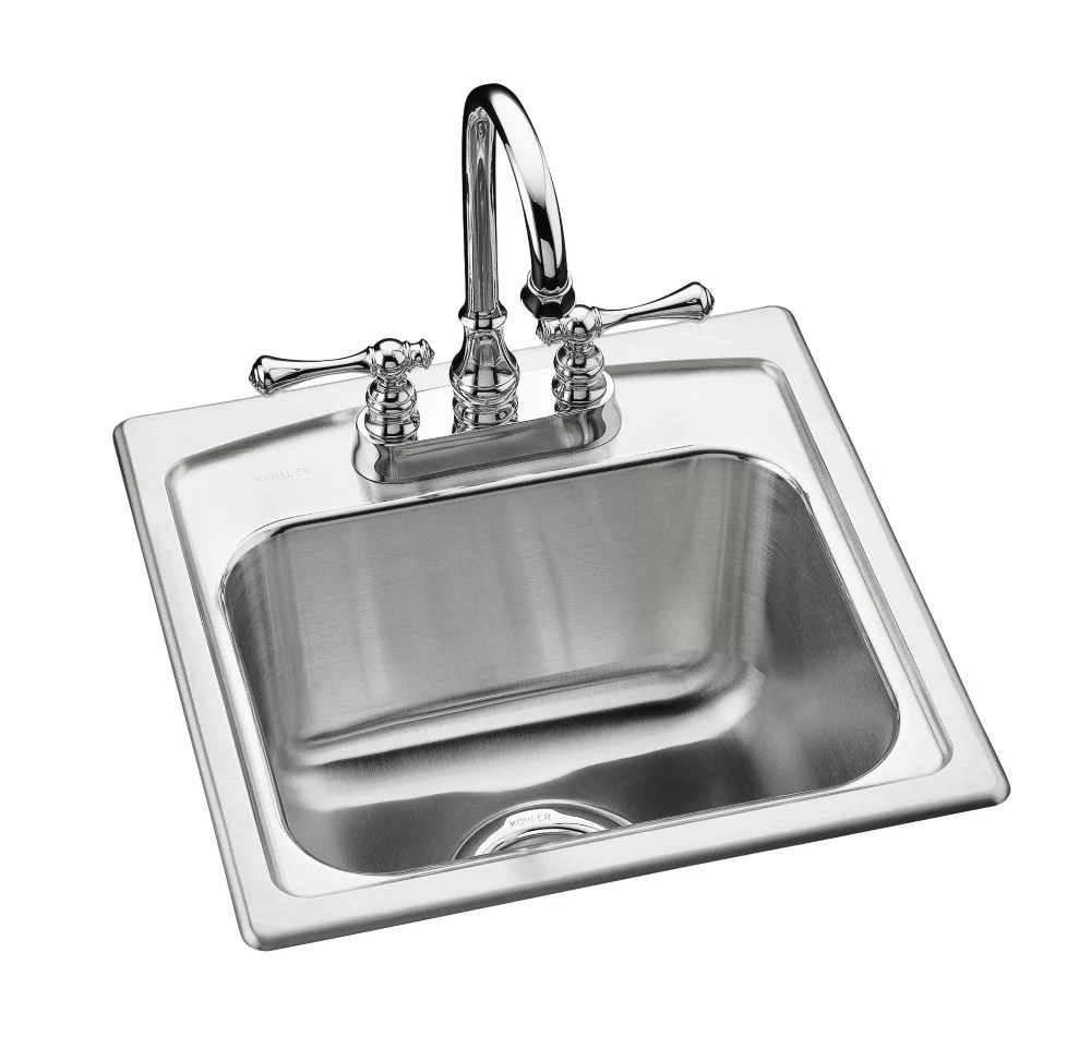 toccata tm 15 x 15 x 7 11 16 top mount bar sink with 2 faucet holes