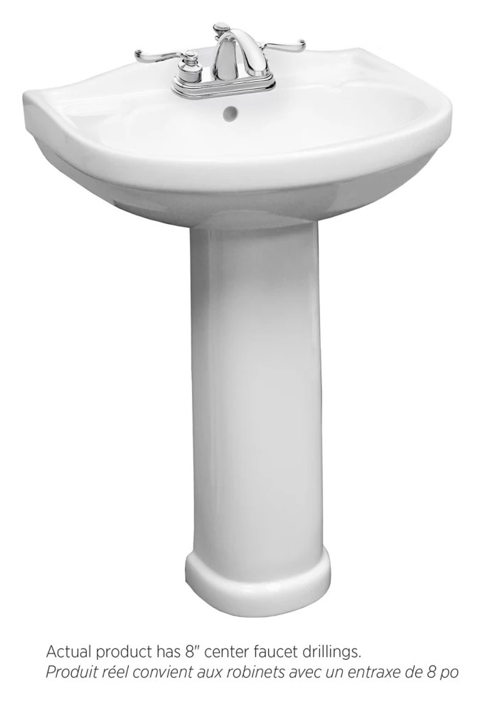 tuxedo bathroom pedestal sink with 8 inch centre faucet drilling in white