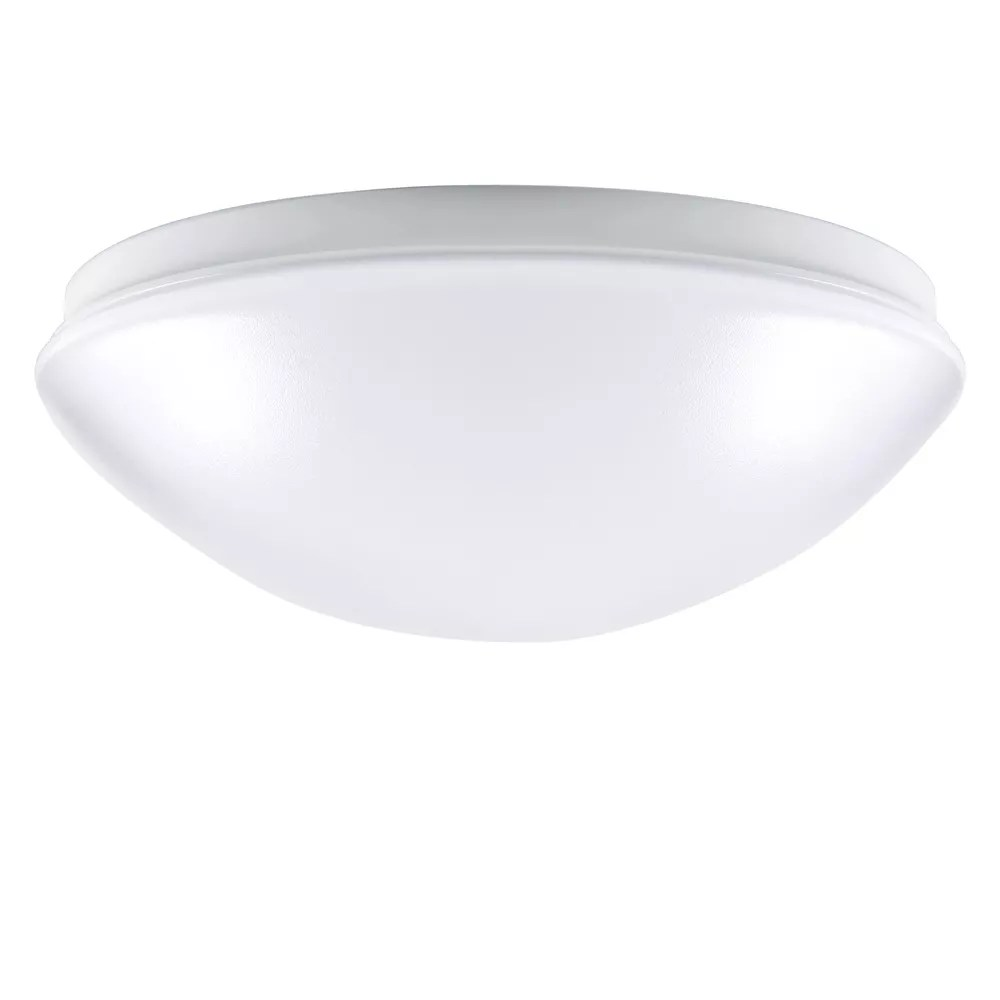 low profile round puff integrated led flushmount light fixture in white energy star