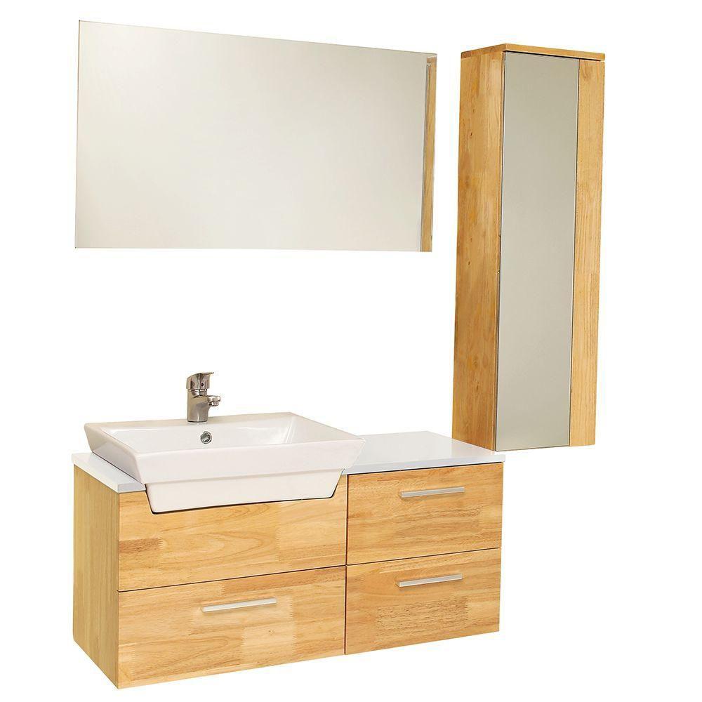 caro meuble lavabo de salle de bains moderne bois naturel avec armoire laterale a miroir