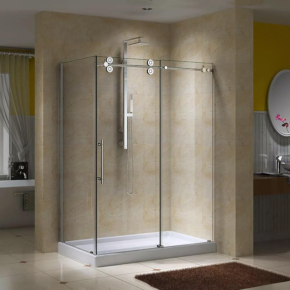 porte de douche coulissante en verre clair 10mm avec panneau de retour et base regal ii 36 po x 48 po