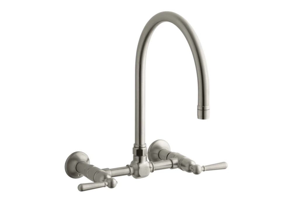 hirise stainless wall mount bridge kitchen faucet