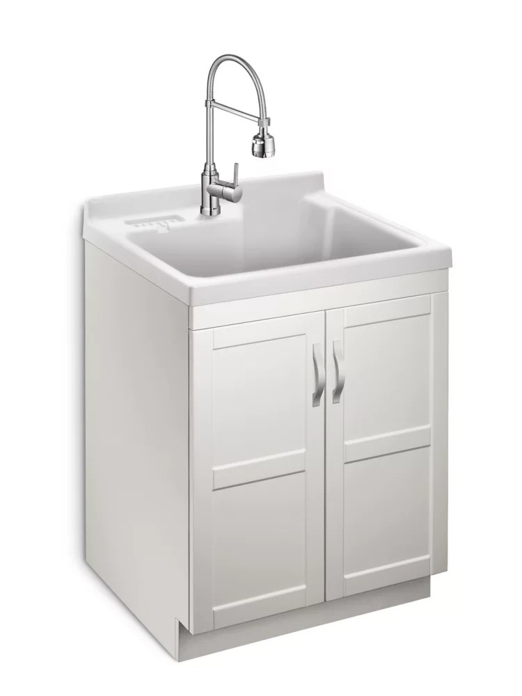 deluxe all in one 28 inch 2 door laundry cabinet with abs basin and dual spray faucet