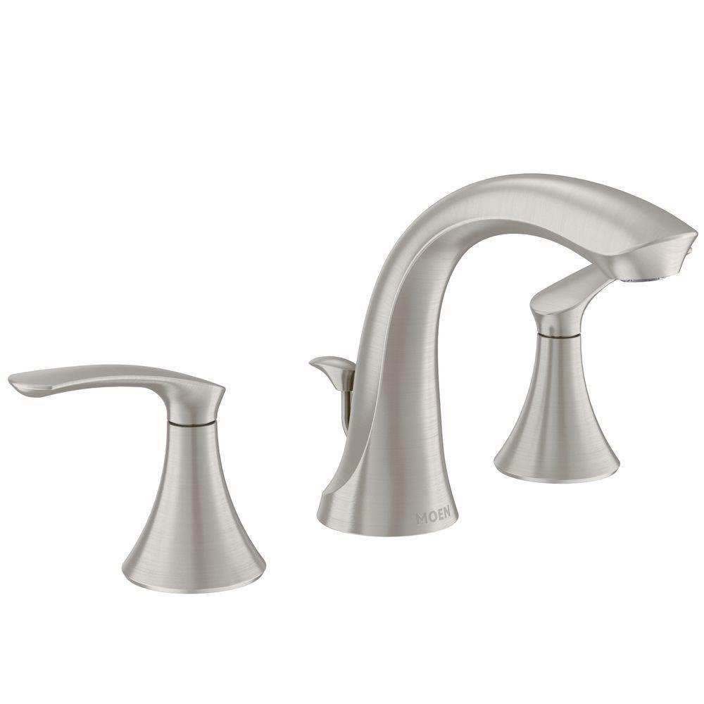 darcy 8 inch widespread 2 handle high arc bathroom faucet in spot resist brushed nickel