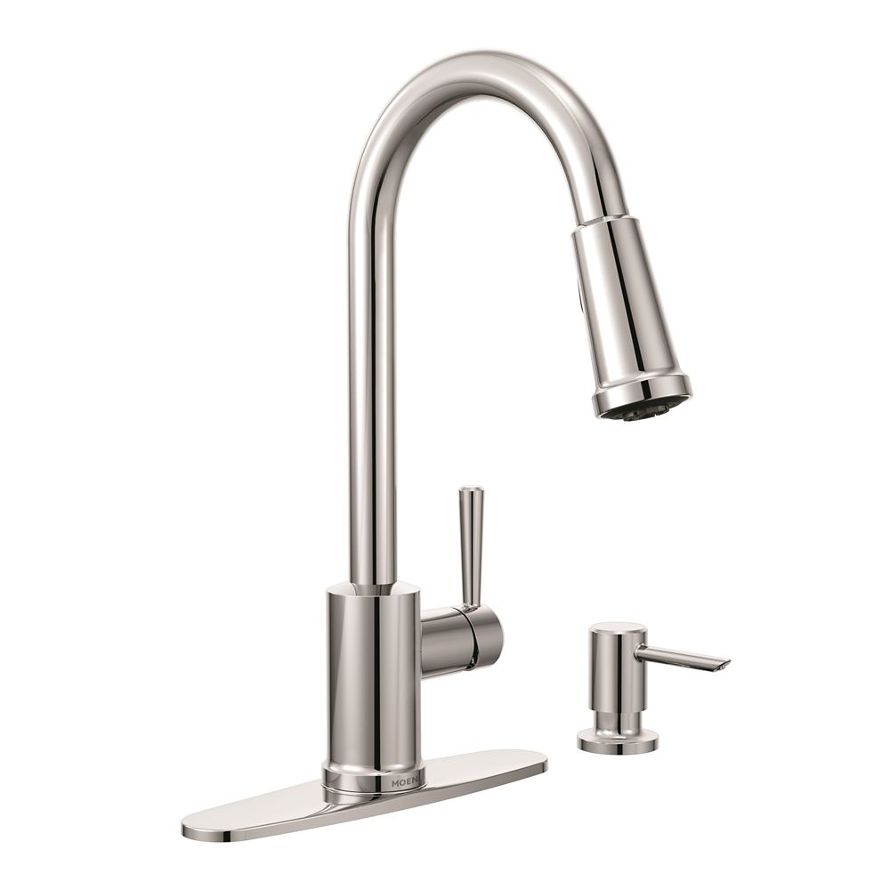 indi single handle pull down sprayer kitchen faucet with power clean tm in chrome