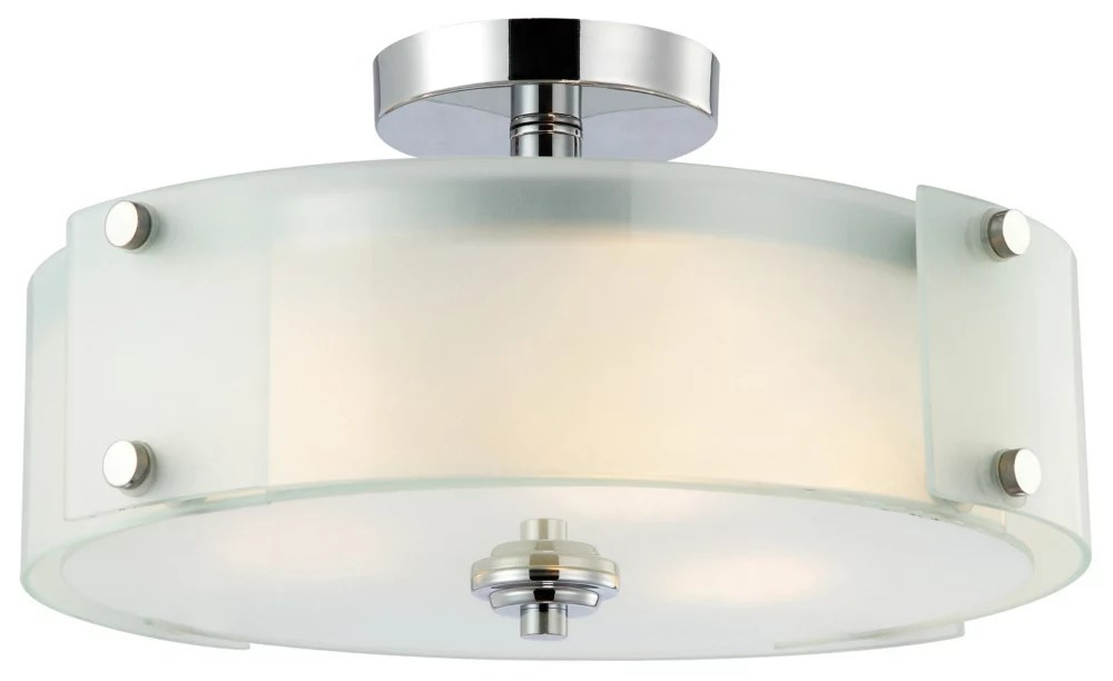 scope 3 light chrome semi flush mount light with frosted glass