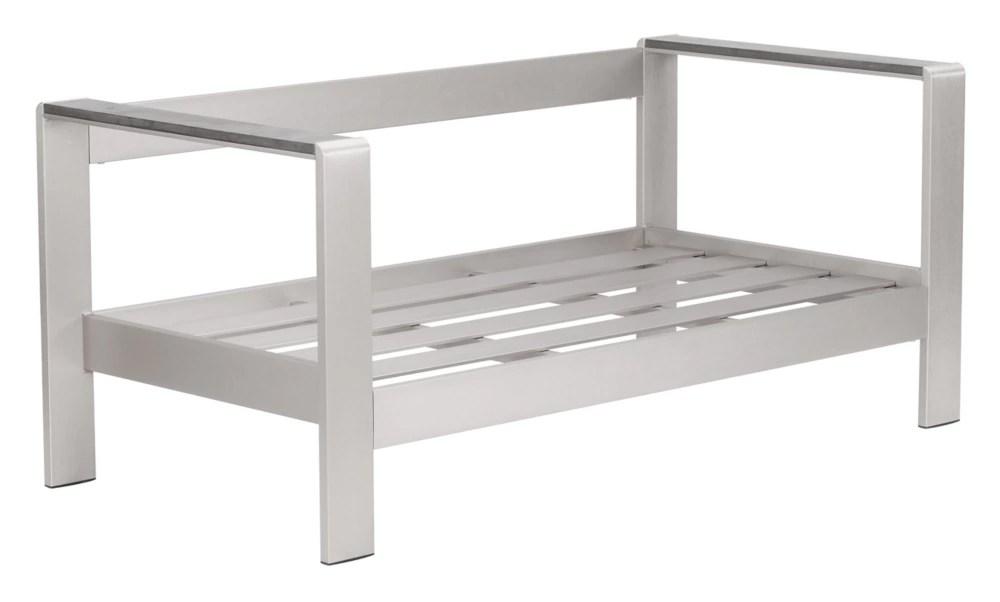 cosmopolitan patio sofa frame in brushed aluminum