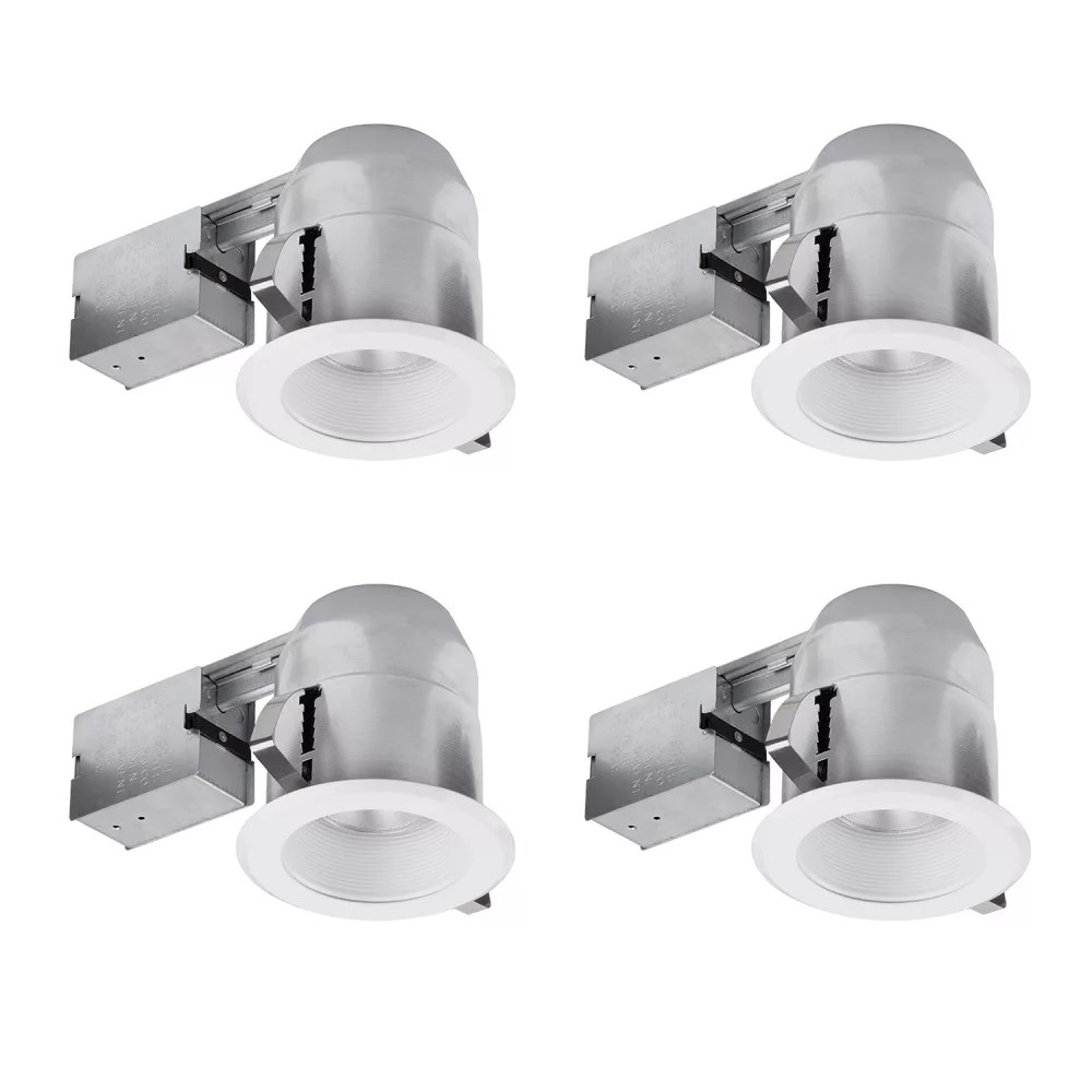 5 inch white ic rated round recessed lighting kit 4 pack