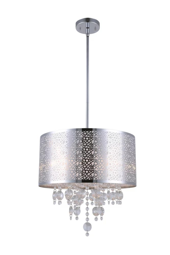piera 16 inch x 24 inch x 66 inch 4 light chandelier in chrome with crystal drops