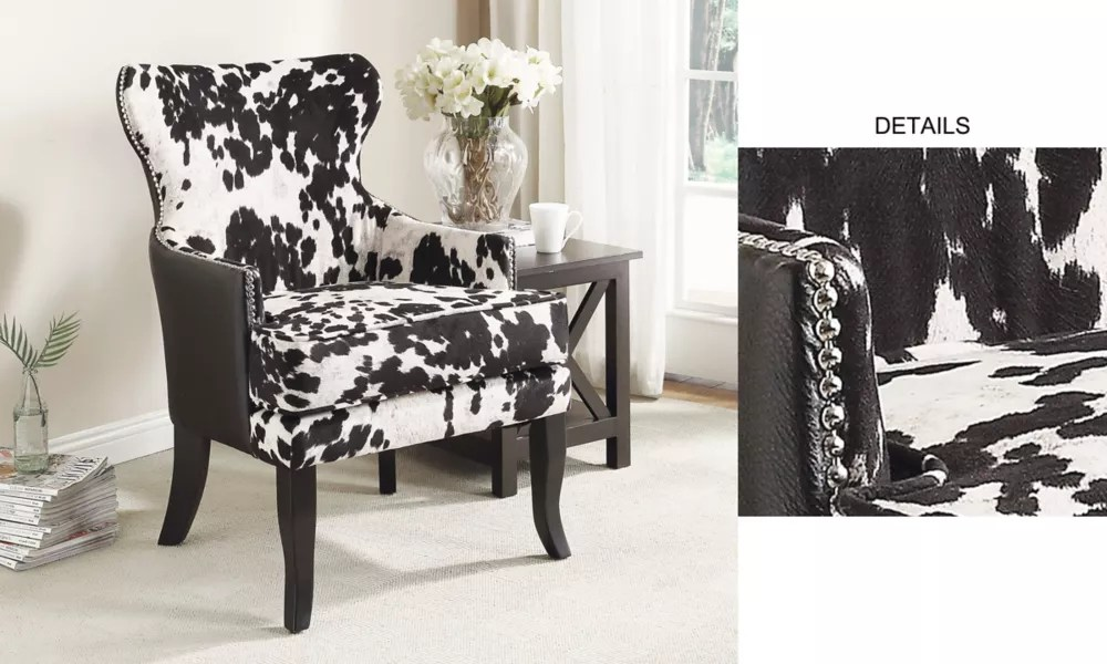 angus rustic wingback faux leather accent chair in black with animal print pattern