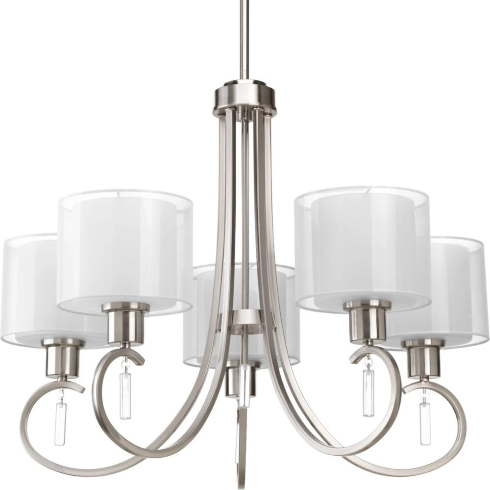 invite collection 5 light brushed nickel chandelier