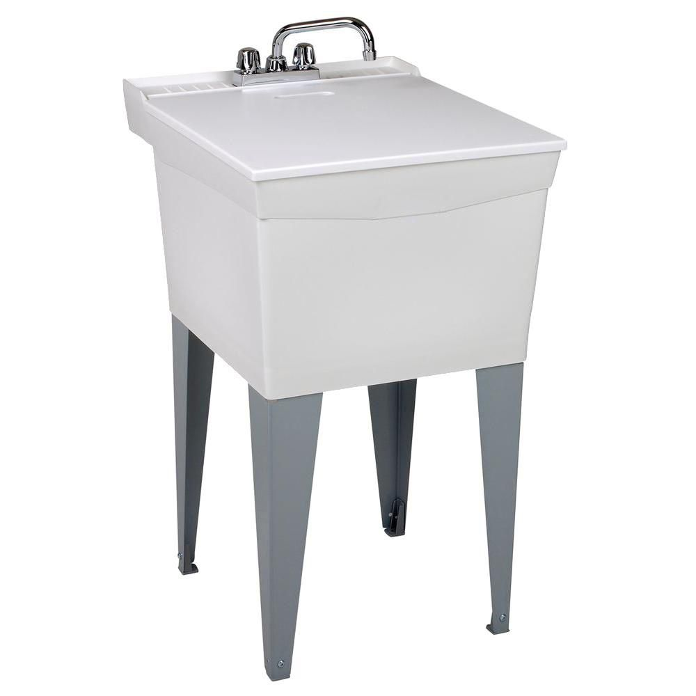 utilatub combo laundry tub with faucet supply lines p trap