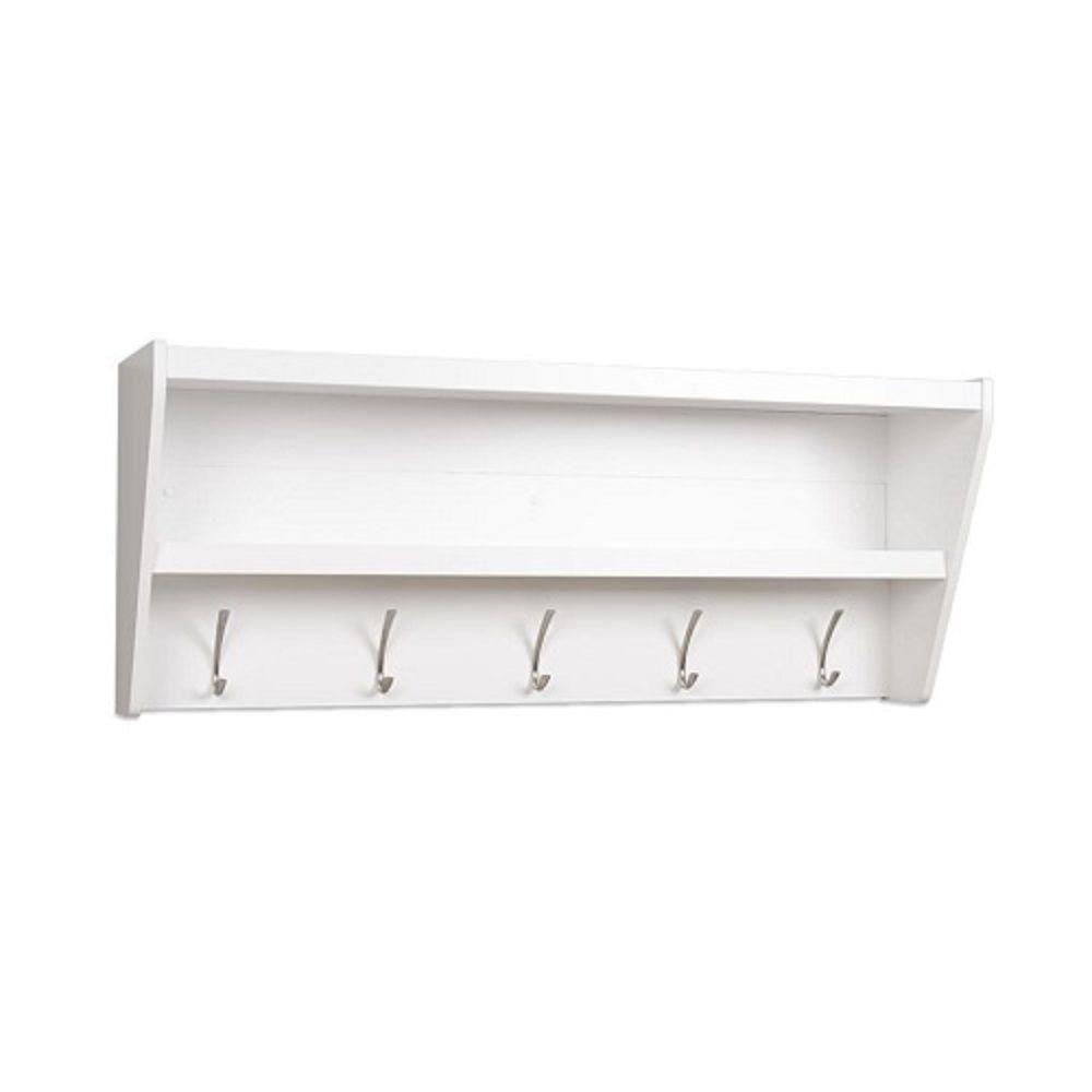 floating entryway shelf coat rack in white
