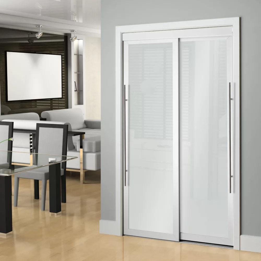 porte de placard coulissante 48 po verre givre opaque blanc