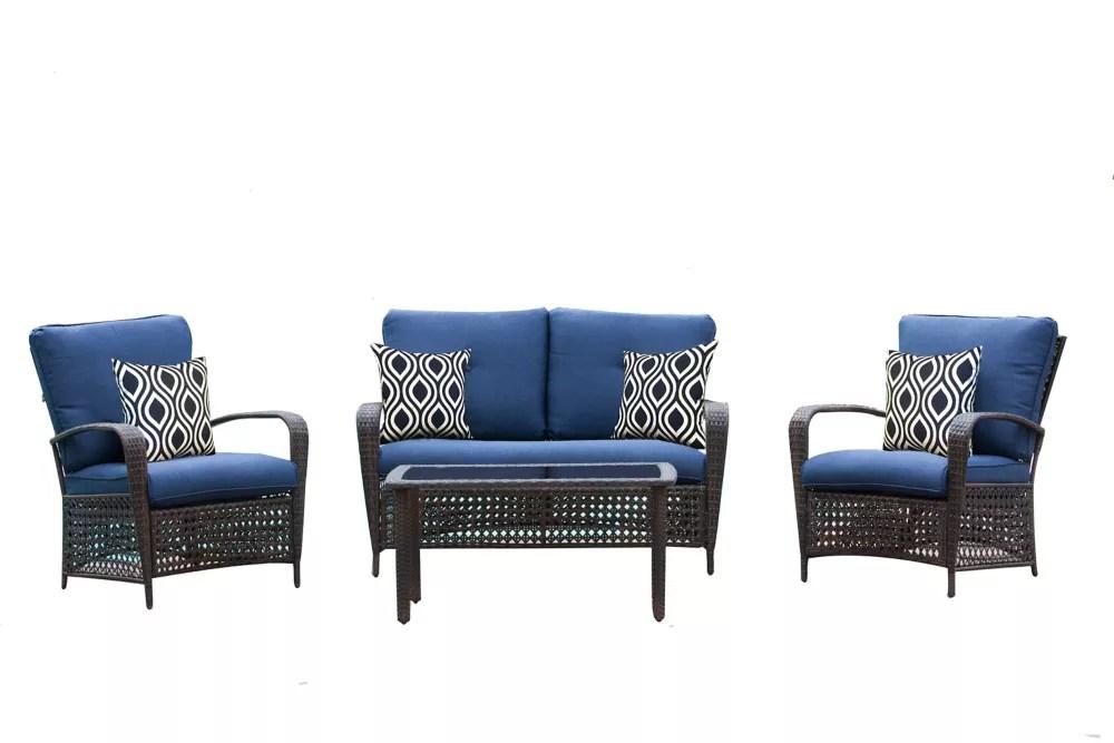 delaronde 4 piece dark brown wicker patio chat set with navy cushions
