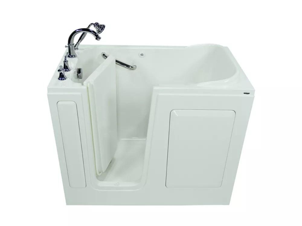 american standard w48 x d28 x h38 rectangular gelcoat soaking left drain walk in bathtub in white