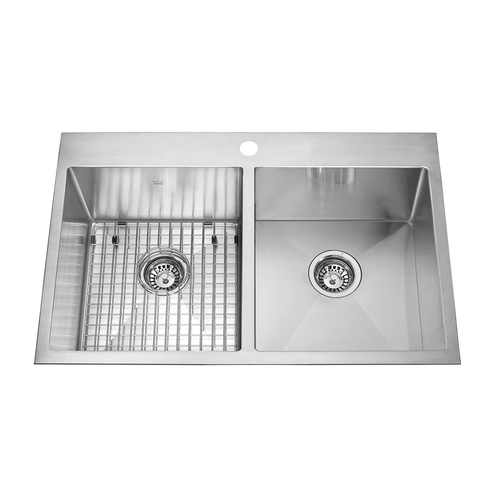 31 inch x 20 inch dual mount stainless steel double basin kitchen sink