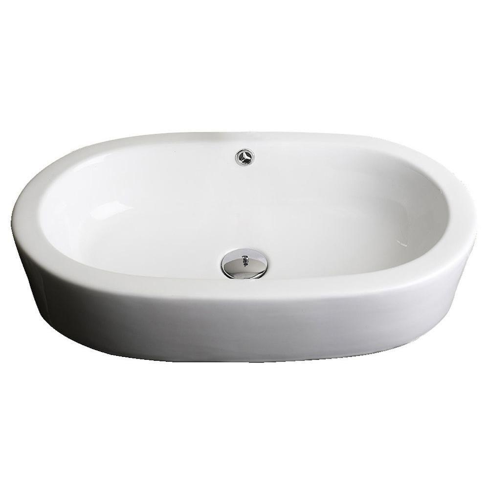 25 inch w x 15 inch d semi recessed oval vessel sink in white