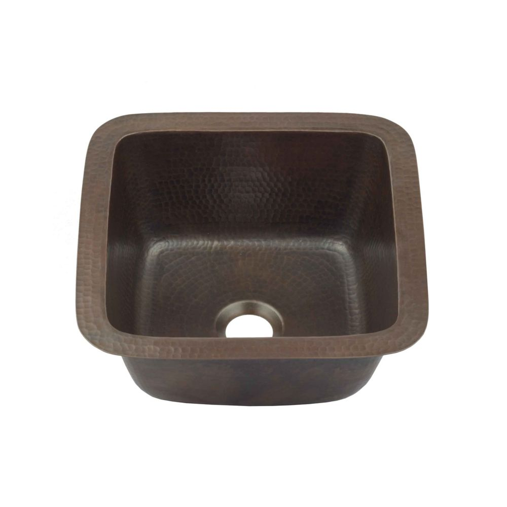 pollock undermount handmade pure solid copper 12 in 0 hole bar prep copper sink in aged copper