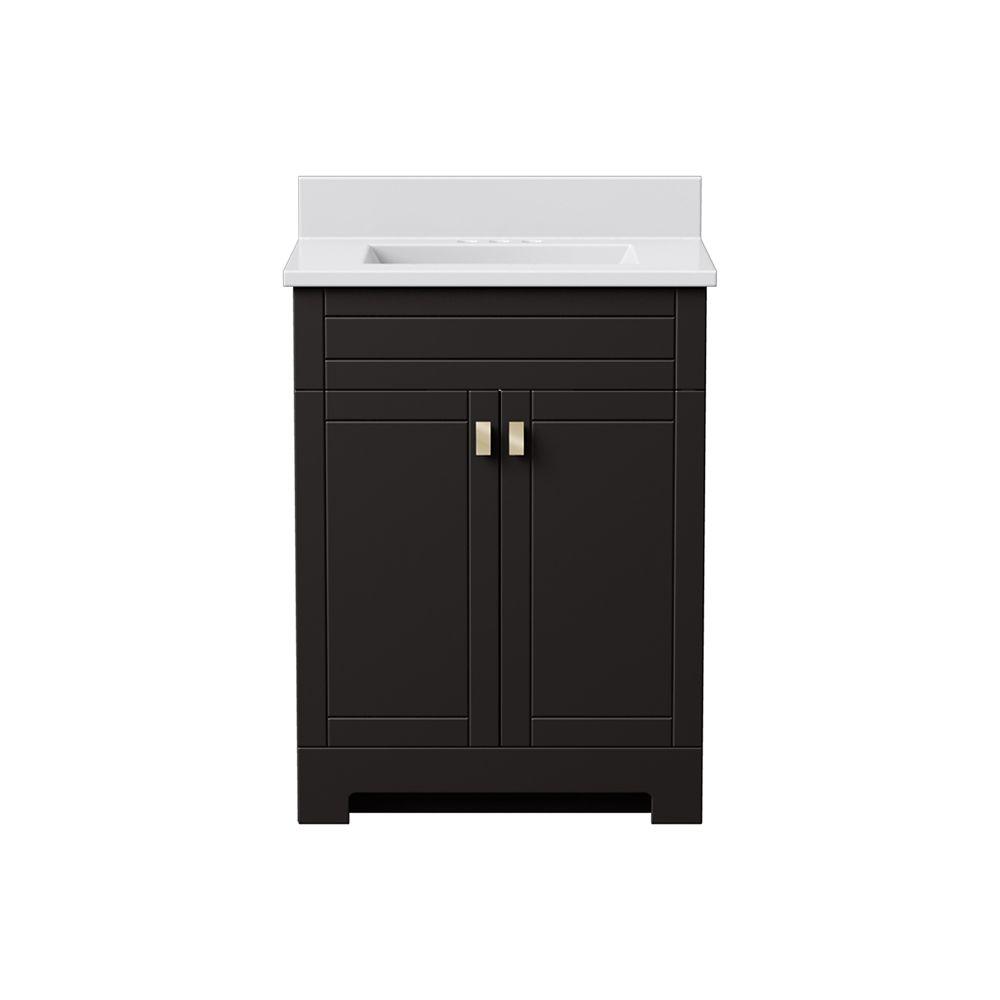 ensemble de meuble lavabo essex munie de deux portes de 76 2 cm 25 po largeur en fini chocolat noir avec un comptoir en pierre artificielle blanche