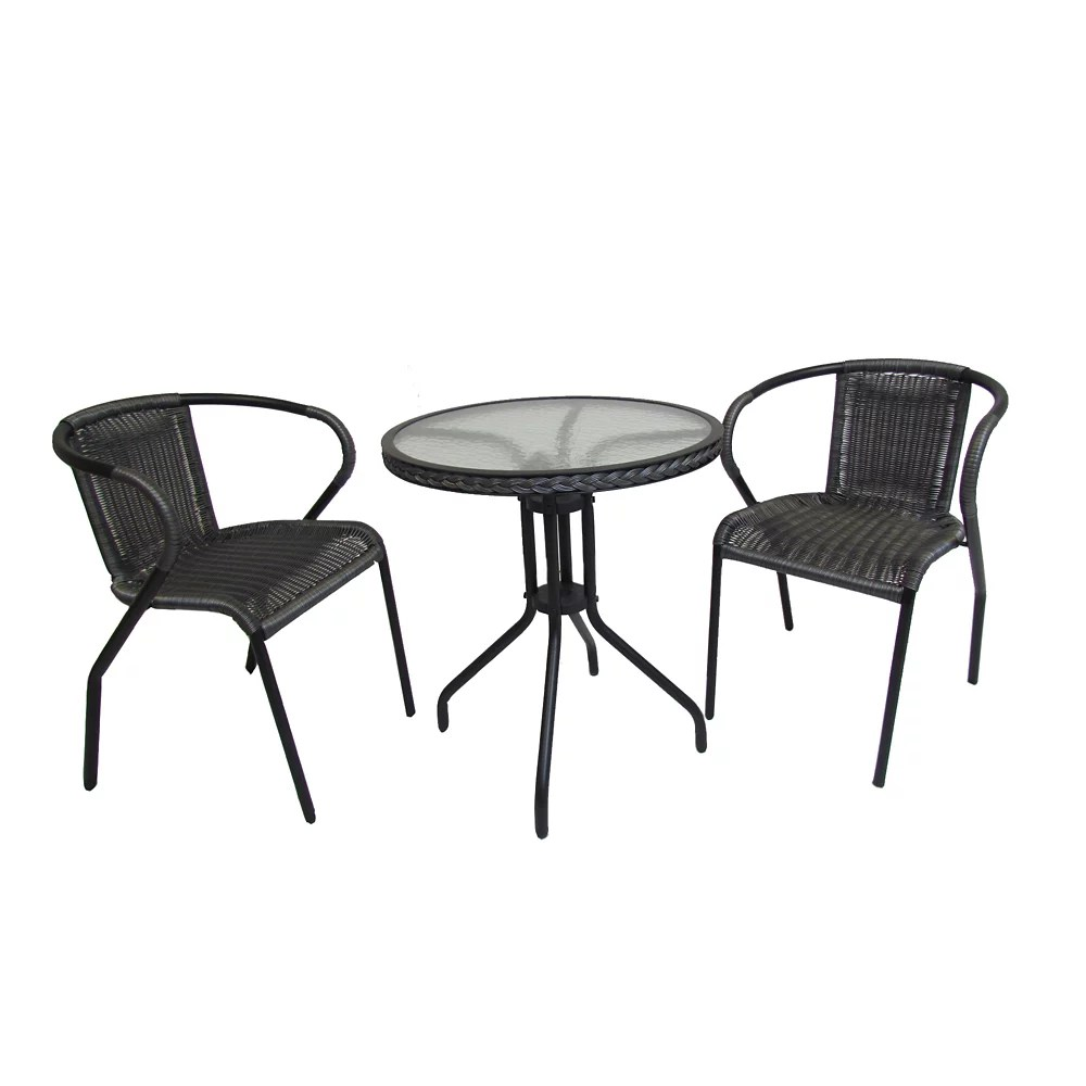 3 piece patio bistro set round table steel frame in grey