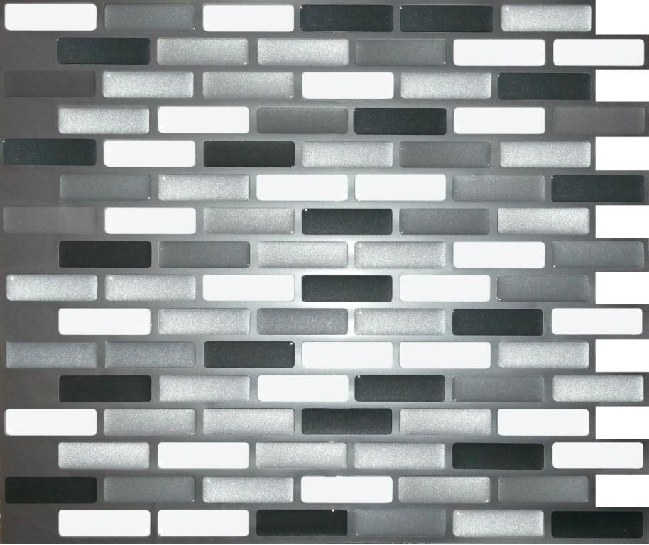 glass grey oblong peel and stick it tile 11 x 9 25 inch value 4 pack