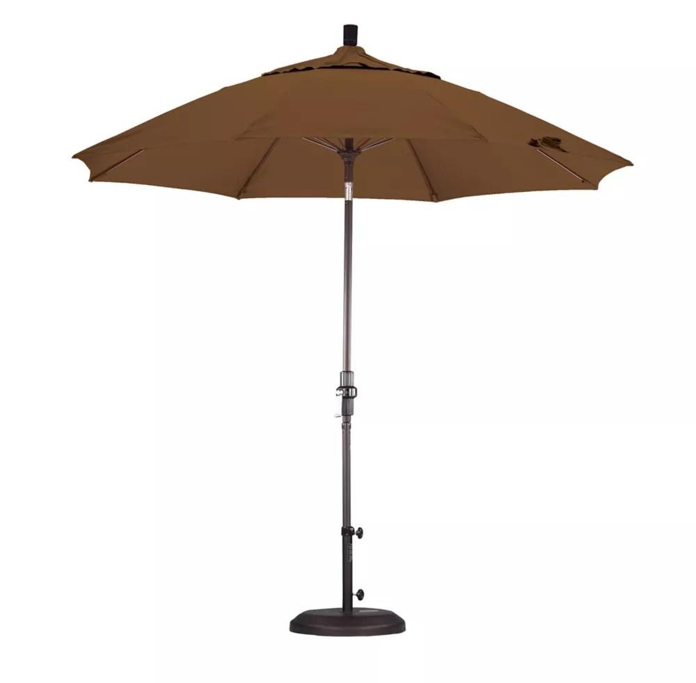 9 en fibreglass marche parasol collier tilt sunbrella bronze toile teck