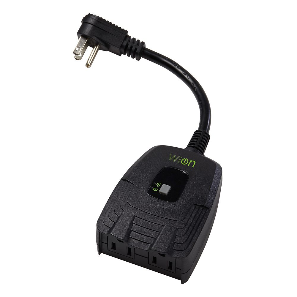 outdoor wi fi dual outlet with wireless switch and programmable timer black