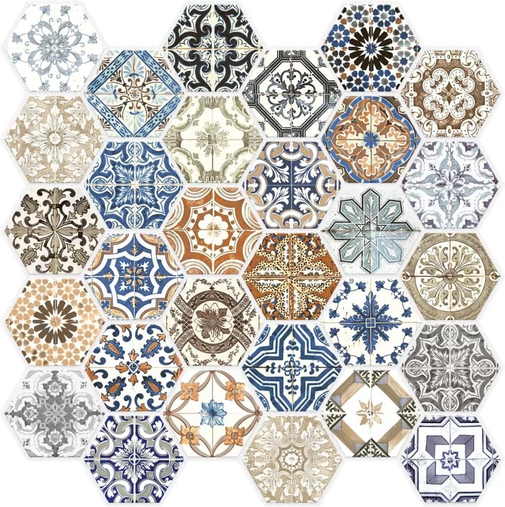 marrakesh glass hexagon mosaics
