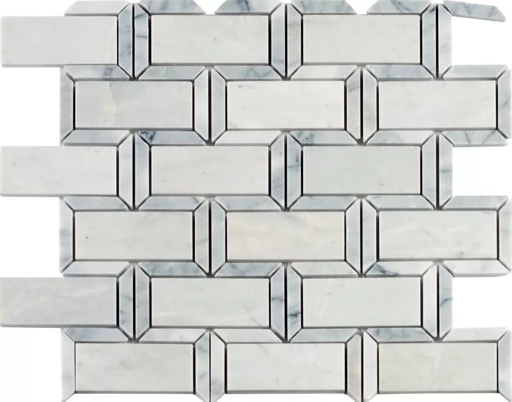 framework 12 in x 12 in polished marble mesh mounted mosaic tile