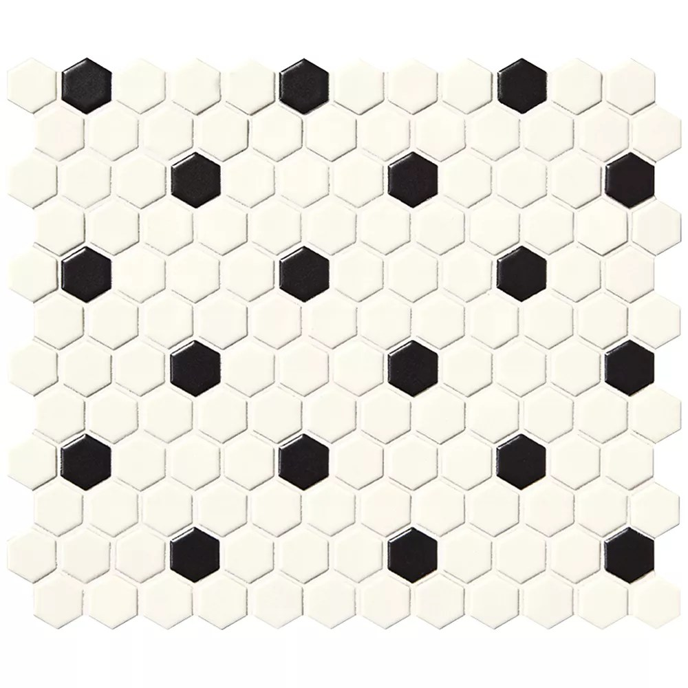finesse satin white with black dot 10 inch x 12 inch x 6 mm glazed porcelain hexagon mosaic wall tile 9 09 sq feet case