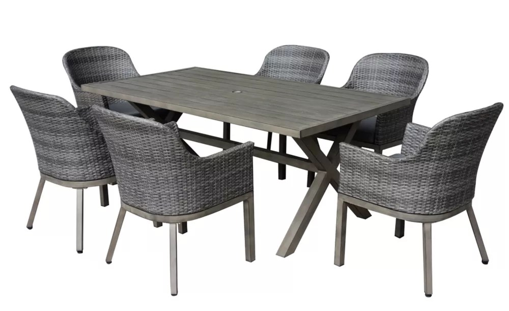 crown view 7 piece wicker rectangular outdoor patio dining set with grey seat pads
