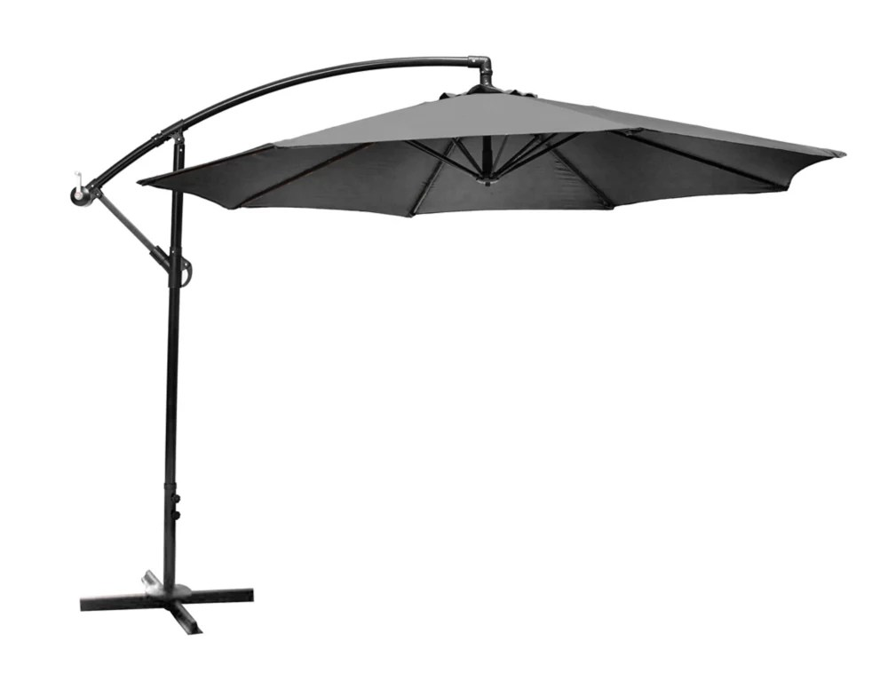 10 ft offset patio umbrella with x base in graphite