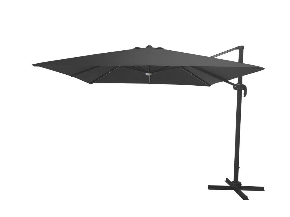10 ft aluminum offset led solar square patio umbrella with x base in graphite