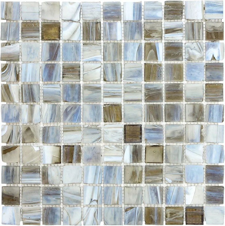 1 inch x 1 inch glass mosaic tile in smoked oyster