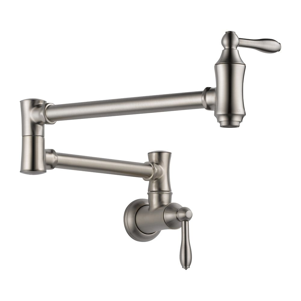 traditional wall mount pot filler faucet in stainless
