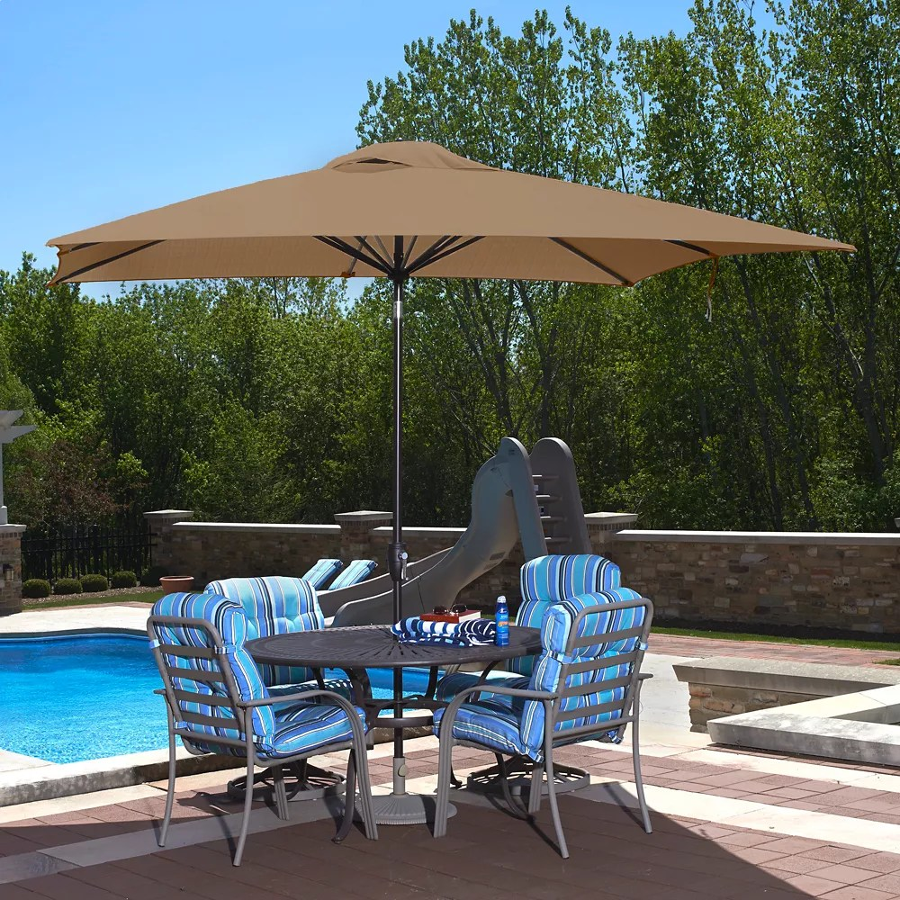 caspian 8 ft x 10 ft rectangular sunbrella acrylic market umbrella in stone