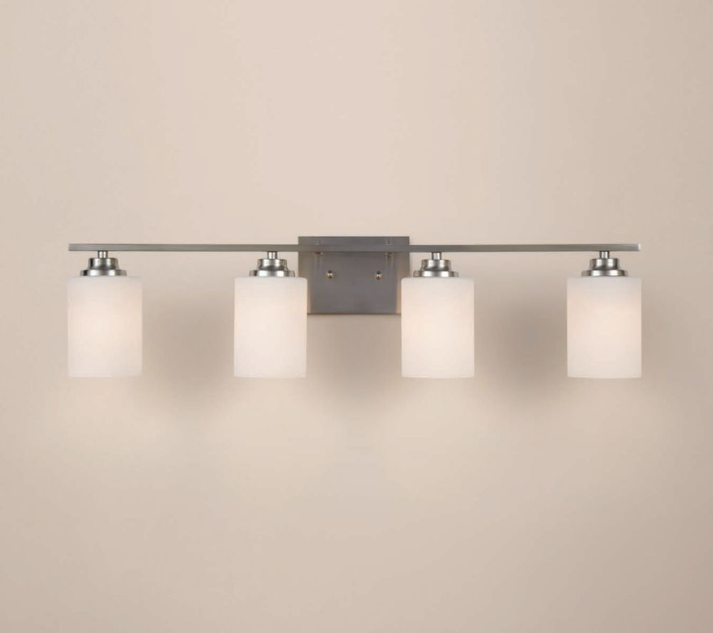 Hampton Bay 4 Light Brushed Nickel Vanity Light With Round Glass Shades The Home Depot Canada