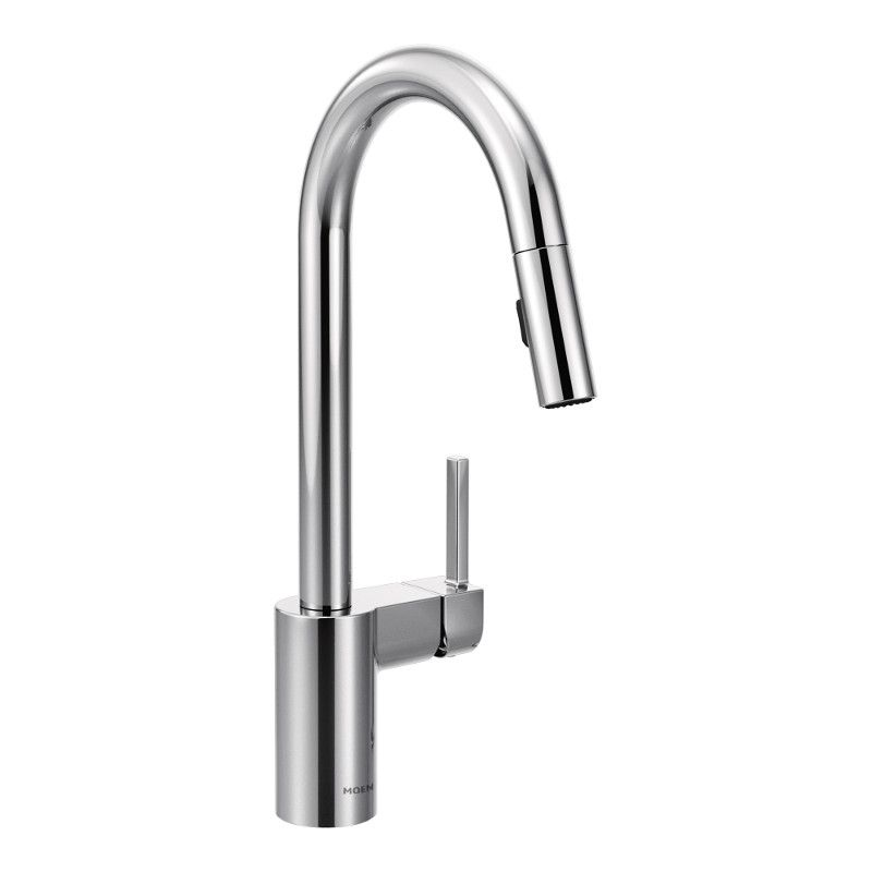 align single handle pull down sprayer kitchen faucet with reflex and power clean in chrome