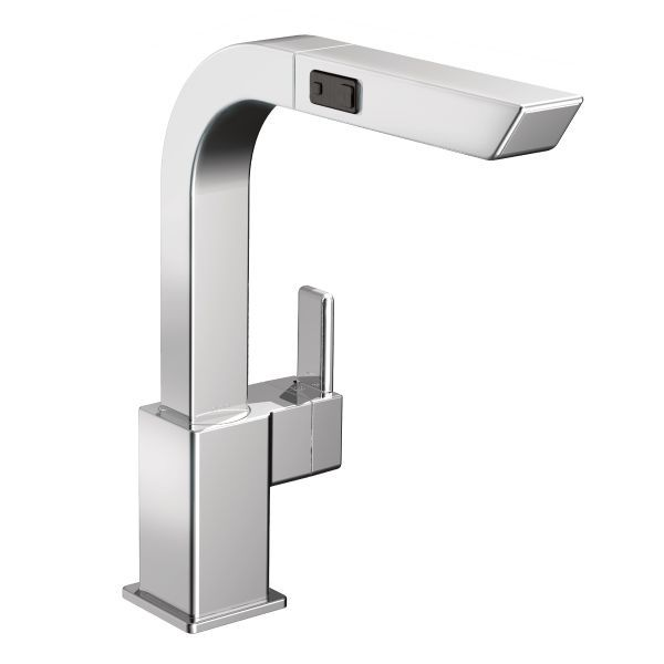 90 degree single handle pull out sprayer kitchen faucet in chrome