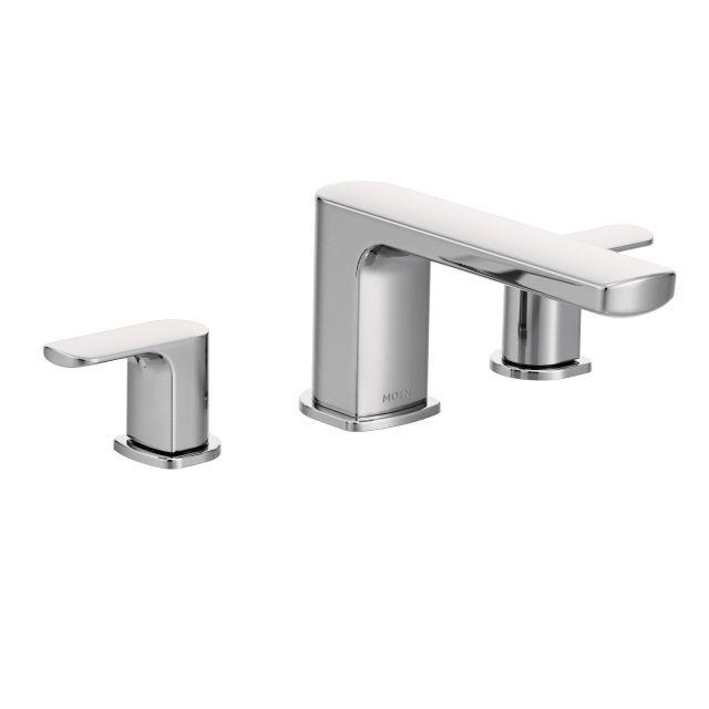 rizon 2 handle deck mount roman tub faucet trim kit in chrome valve not included