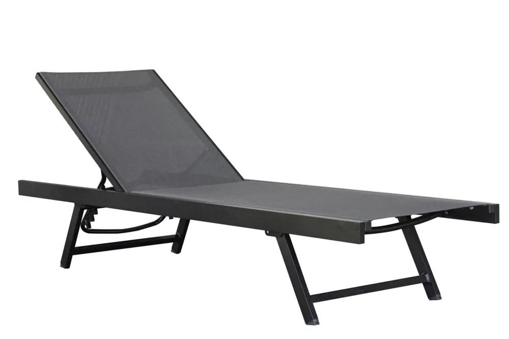chaise longue urbaine aluminium noir chrome
